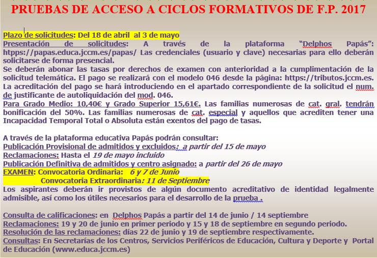 Modal Pruebas De Acceso A Ciclos Formativos De F P 2017 Modal