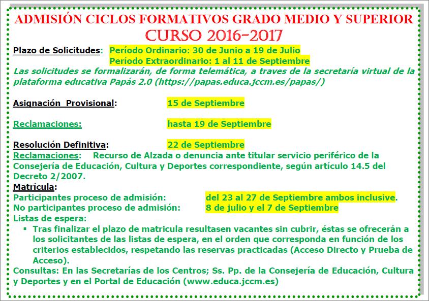 Modal Admisión A Ciclos Formativos De Grado Medio Y Superior